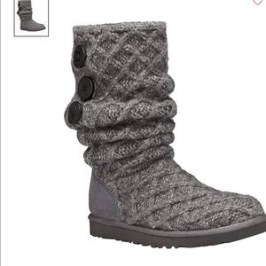Ugg Woven Tall Knit Boots in Grey